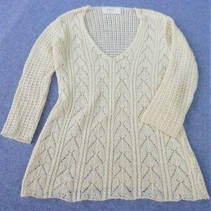 Zara Knit Sweater V Neck Cream Long L